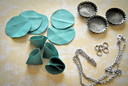 How to make fabric flower bottle cap jewelry for How to make bottle cap flowers