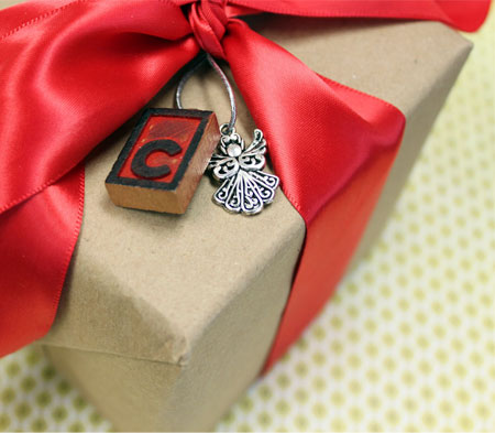 Letter Press and Angel Charm Gift Tag