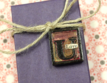 Painted Letter Press Gift Embellishment