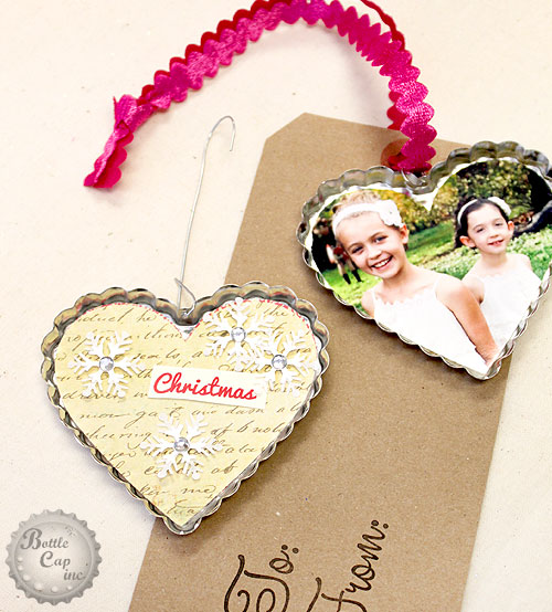 Jumbo Heart Cap Christmas ornaments by Bottle Cap Inc