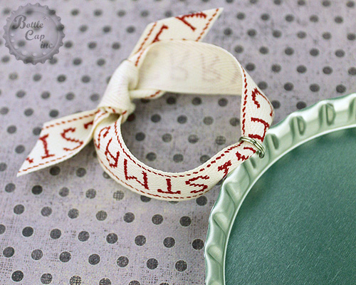 Ribbon and Oversize Bottle Cap Ornaments