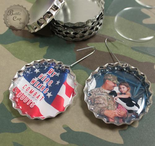 Military Photo Jumbo Bottle Cap Ornament
