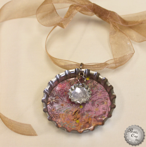Jumbo Bottle Cap Scrap Paper Christmas Ornament with sparkly charm
