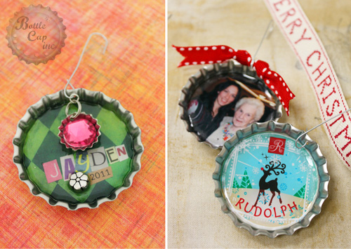 Jumbo Bottle Cap Christmas ornament kid's craft