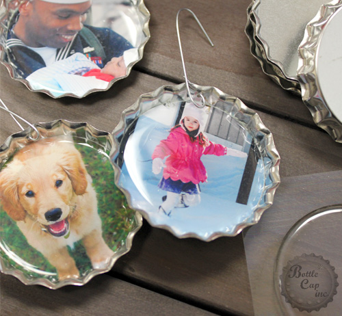 Jumbo Bottle Cap Photo Christmas Ornaments