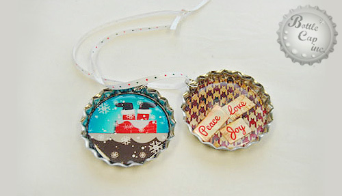 Jumbo Bottle Cap Christmas Ornaments