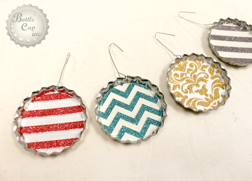 Jumbo Bottle Cap Scrap Paper Christmas Ornaments