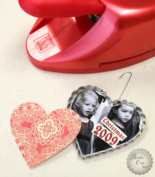 Metal Heart Cap Scrap Paper Photo Christmas Ornament