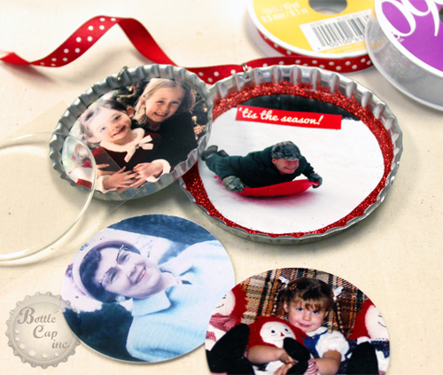 Photo Christmas Ornaments with glitter and ribbon