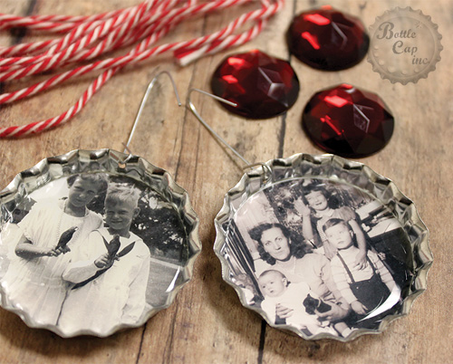 Vintage Photos in bottle caps