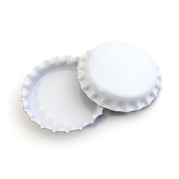 50 white standard bottle caps