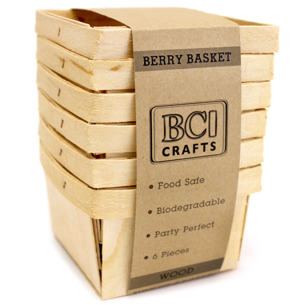 4x4 Wood Crafts Berry Baskets Wood 6pc