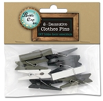 8 Clothes Pins, 3.5mm, Black, White, Brown