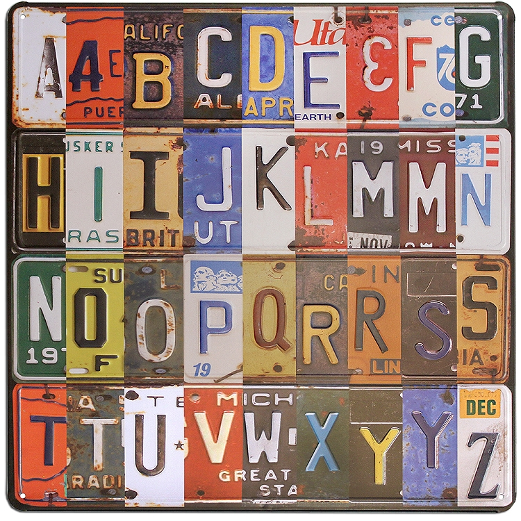 Salvaged License Plate Metal Collage with Alphabet Letters by BCI ...