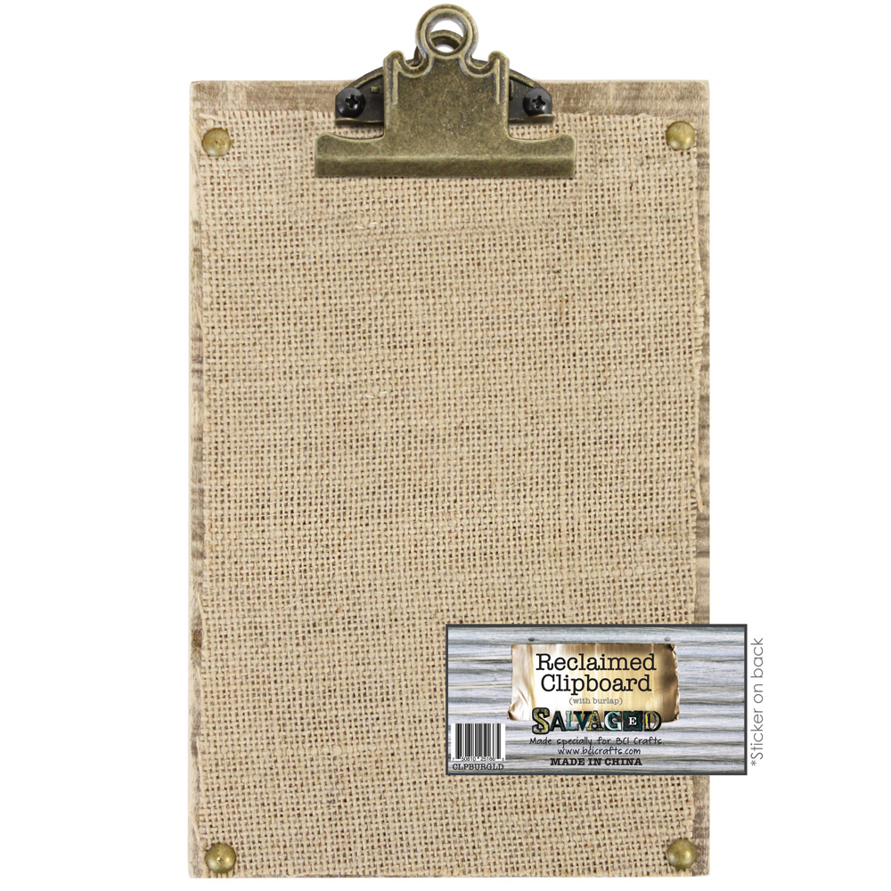 Clipboard 6x9 Reclaimed Wood With Burlap