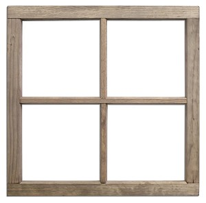 4 pane wood window frame weathered wood