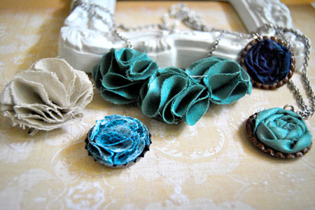 How To Make Fabric Flower Bottle Cap Jewelry