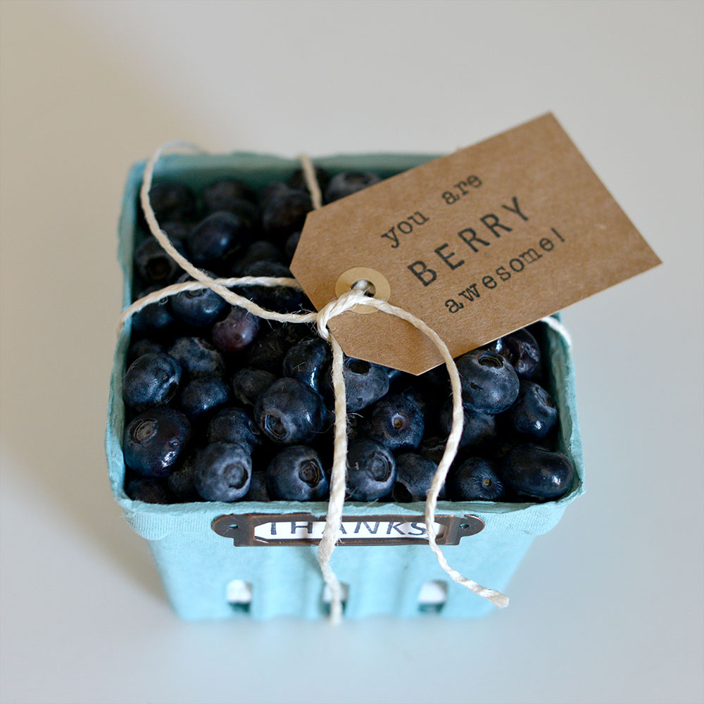 Berry basket thank you gift with fresh berries inside