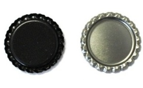 Black Bottle Caps Flattened