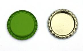 Lime Green Bottle Caps Flattened