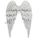 Silver Metal Angel Wings 8x10 -Galvanized