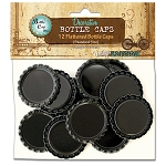 12 Black Flattened Standard Bottle Caps