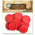 12 Cherry Red Flattened Standard Bottle Caps