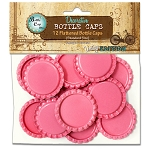12 Hot Pink Flattened Standard Bottle Caps