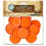 12 Tangerine Flattened Standard Bottle Caps