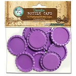 12 Bright Purple Flattened Standard Bottle Caps
