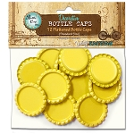 12 Bright Yellow Flattened Standard Bottle Caps