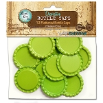 12 Lime Green Flattened Standard Bottle Caps