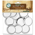 12 White Flattened Standard Bottle Caps