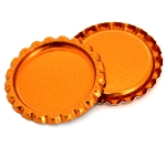 Two Sided Metallic Orange Bottle Caps Flattened