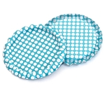 Two Sided Aqua Blue - White Polka Dots Bottle Caps Flattened