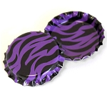 Two Sided Bright Purple Zebra Bottle Caps