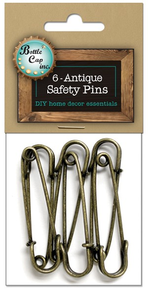 "Metal Safety Pins 2"" -Antique Gold 6pc"