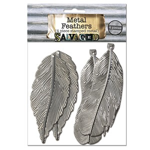"Metal Feathers 3"" -Cut and Formed 4pc"