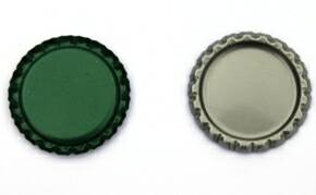 Two Sided Green Bottle Caps Flattened (Bulk)