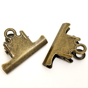 Bull Clips -75mm Antique Gold 2pc
