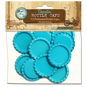12 Aqua Blue Flattened Standard Bottle Caps