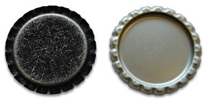 Distressed Black Bottle Caps Flattened