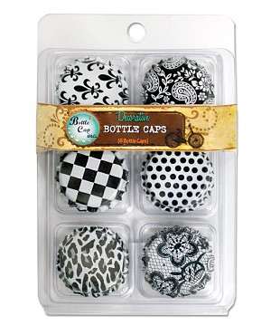 6, 2 Sided White Standard Bottle Caps w/ Patterns 2