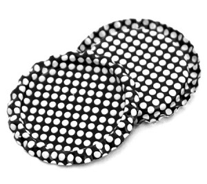 Two Sided Black - White Polka Dots Bottle Caps Flattened