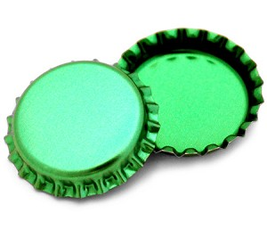 Two Sided Metallic Green Bottle Caps