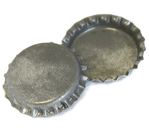 Two Sided Silver Patina Bottle Caps