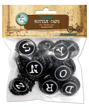 50 Typewriter Two Sided Bottle Caps